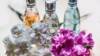 Parfüm umfüllen: Drei kleine Parfümflaschen aufgestellt